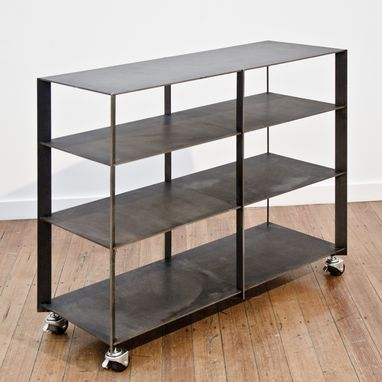 Custom Made Blackened Steel Rolling Shelving Carts