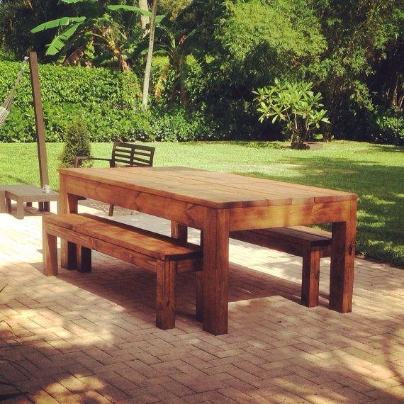 Custom Outdoor Indoor Rustic All Wood Dining Table W