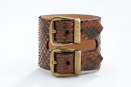 Custom Made Genuine Python Double-Buckle Luxury Bracelet/Cuff In Bourbon (Brown) Washed Gray - Exotic Leather