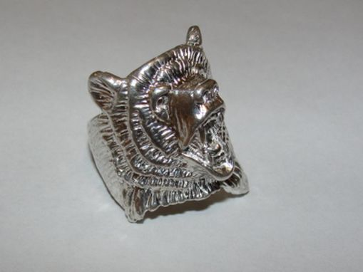 Custom Made Native American Inspired Sterling Silver Bear Ring