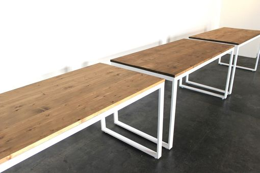 Custom Made Coffee And Waxed Reclaimed White Pine Top With White Steel Legs