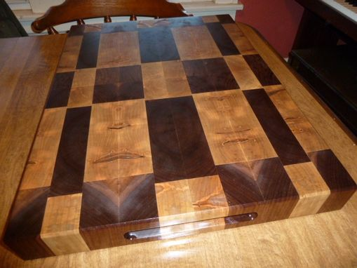 Custom Made Patchwork Mixed Wood End Grain Chopping Board, Butcher Block
