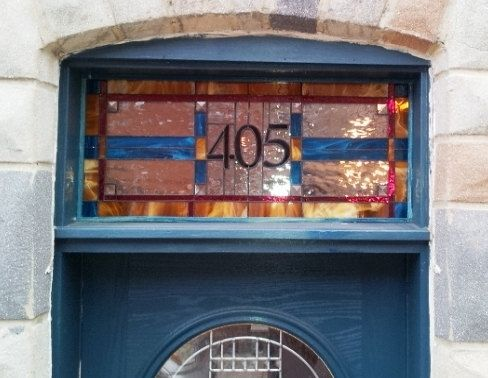 "Custom Made Stained Glass Transom - ""Bright Mission Style"" (Tw-40)"