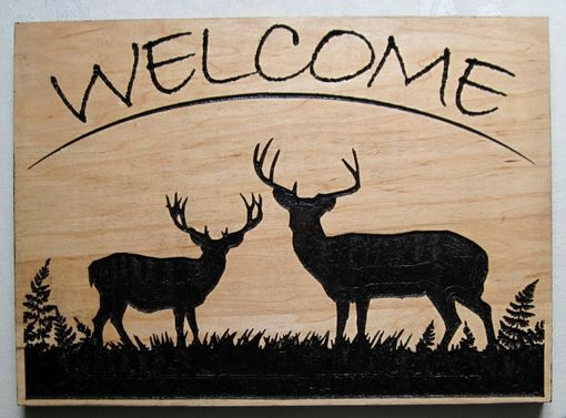 Custom Made Welcome Handmade Wood Deeply Carved Deer / Wall Art Hanging