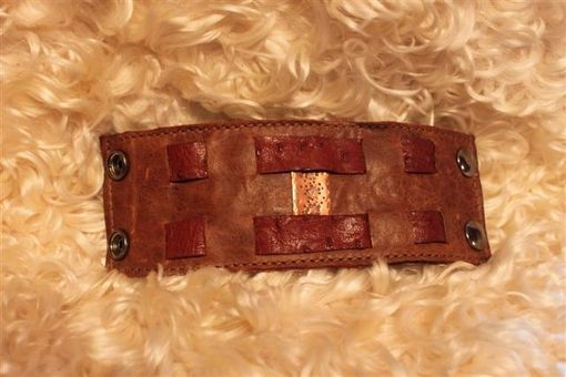 Custom Made Leather Wristband, Cuff Or Bracelette With Copper Insert