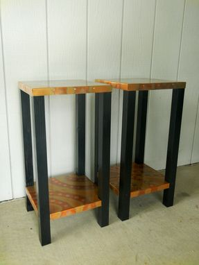 Custom Made Pair Of Copper 'Drink' Tables (Or End Tables)