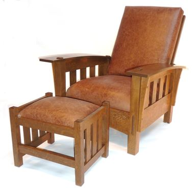 Custom Made Bow Arm Arm Morris Chair With Footstool