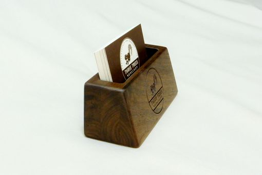 Custom Made Solid Walnut Business Card Holder, Option For Custom Engraving