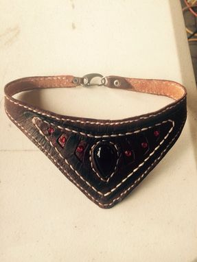 Custom Made Leather Choker With Sworski Crystals