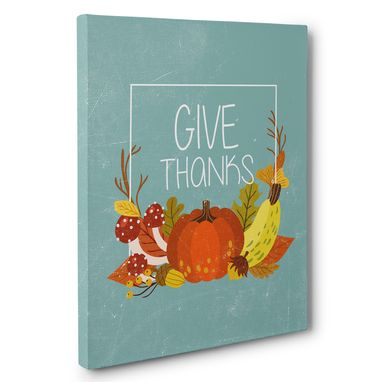 Custom Made Give Thanks Teal Pumpkin Canvas Wall Art