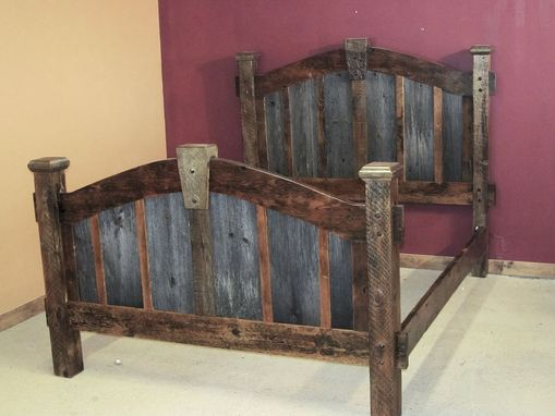 Custom Made Reclaimed Barn Wood Bed Two Tone Arched