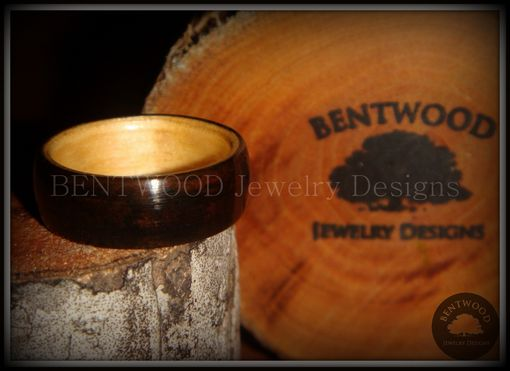 Custom Made Macassar Ebony Wood Ring With Maple Wood Liner