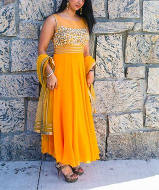 Custom Made Long  Dress In Orange Color, Georgette Fabric,Net Fabric Dupatta, And Gold Finishing