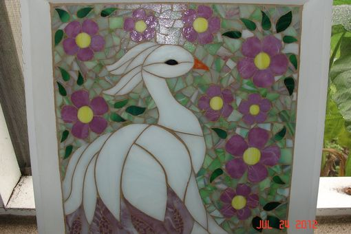 Custom Made Mosaic Stained Glass White Bird Surrounded By Pink Flowers With Soft Green Backround
