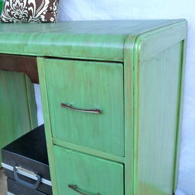 Custom Made Desk - Refinished Art Deco In Antique Jade And Black Onyx