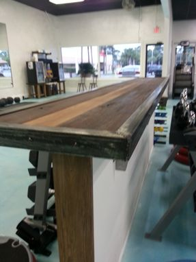 Custom Made Bar Top Made From Reclaimed Black Walnut And Raw Steel.