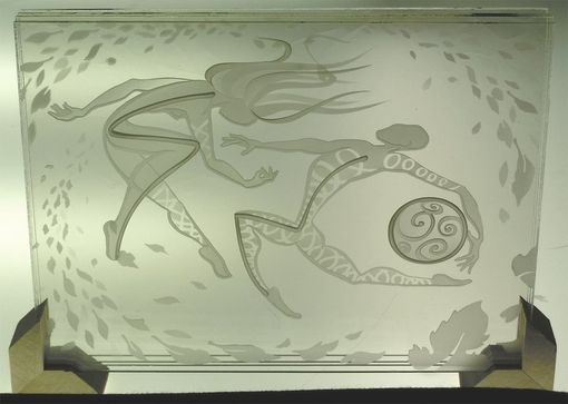 Custom Made Scribble Decorative Art Glass Multi Layered Stacked Sandblasted Images