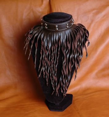 Custom Made Leather  Fringe Choker