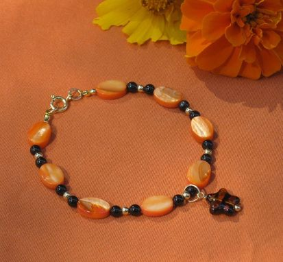 Custom Made Tangerine Mother Of Pearl Gold Bracelet -Free Shipping