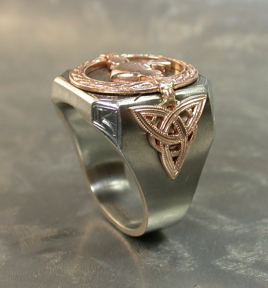 Hand Crafted Irish Mens Deco Ring By J Grahl Design