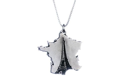 Custom Made France Necklace Eiffel Tower Jewelry Sterling Silver Country Pendant