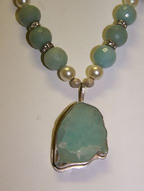 Custom Made Rare Pale Blue Smithsonite(Bonamite) Free Form Stone Set In Sterling Silver Pendant