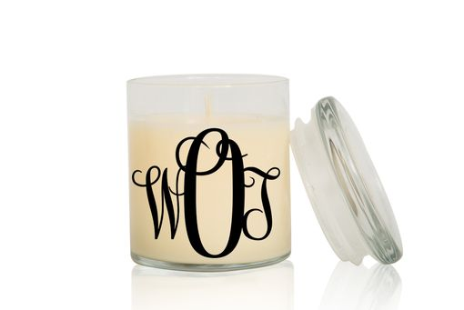 Custom Made Monogram Candle | Fancy Vine | Large Creme Brulee/Vanilla Scented Candle
