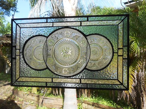 Custom Made Vintage Look Traditional Stained Glass Transom Window, Tiara Sandwich Glass Plate Panel