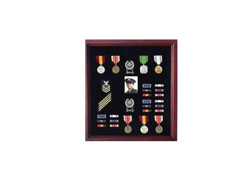 Custom Made Officers Medal Display Case Plus Photo Shadowbox, Military Frame