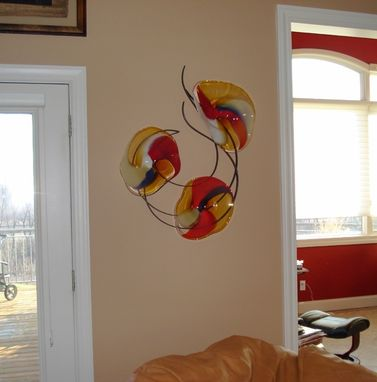 Custom Made Blown Glass And Metal Wall Art