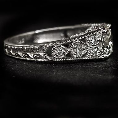 Custom Made Ideal Cut Hearts & Arrows 1.25ct Diamond Vintage Style Platinum Ring