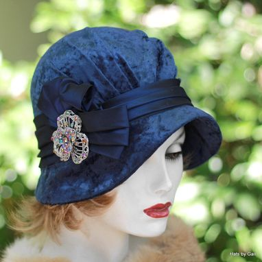 Custom Made Royal Blue Panne Velvet 1920s Cloche Hat