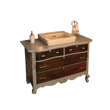 Custom Made Reclaimed Bathroom Vanity With 1950s Cast Iron Kohler Sink, Finished In Annie Sloan Chalk Paint