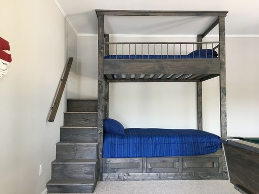 Custom Made Dark Grey Bunk Bed With Step Ladder