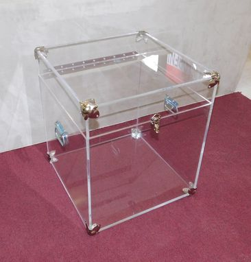 Custom Made Acrylic End Table With Opening Top And Trunk Hardware - Hand Crafted, Custom Made