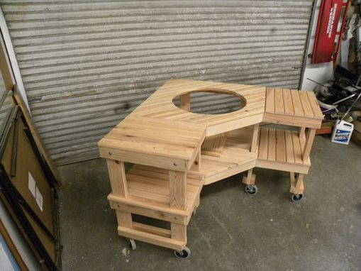 Custom Made Green Egg Corner Grill Table
