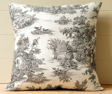 Custom Made Black And White Toile Pillow 22 X 22