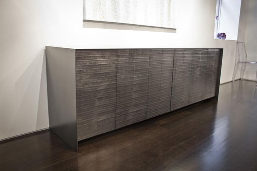 Custom Made Graphite Eelskin And Oxidized Steel Dining Credenza