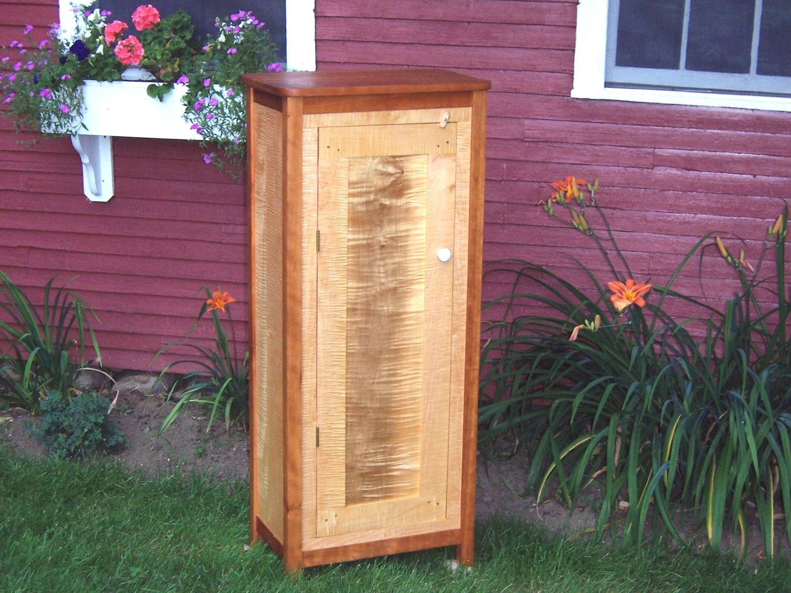Handmade Tall Cherry And Tiger Maple Cabinet By Rockledge