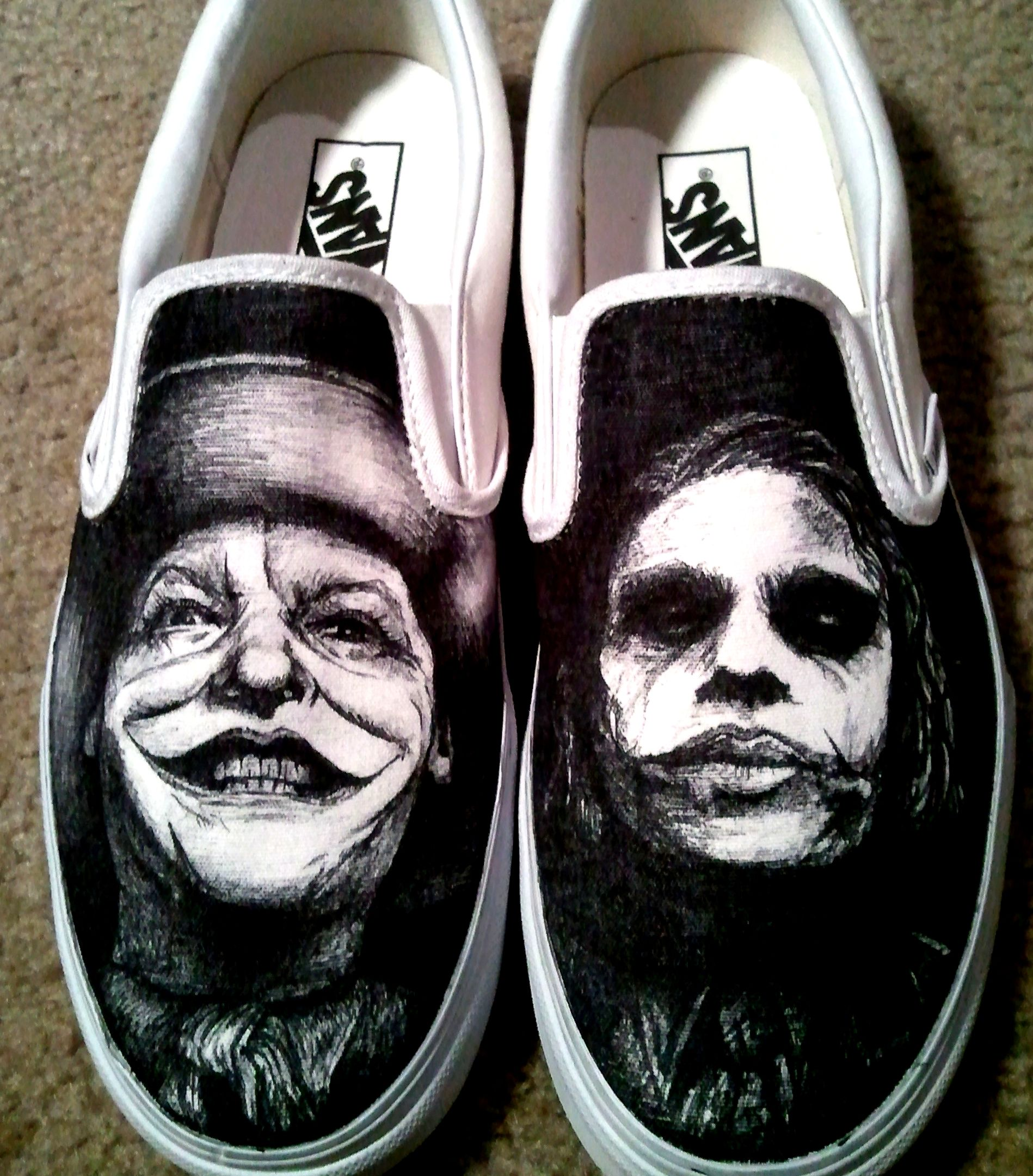 58a91eb4bead Custom Made Hand Drawn Joker Shoes