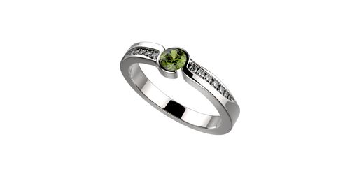 Custom Made 14k White Gold Peridot Engagement Ring