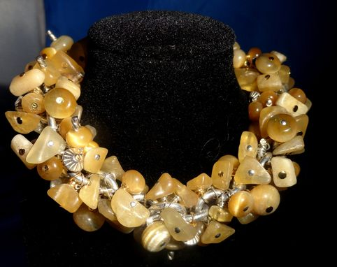 Custom Made Pineapple Calcite, Honey Blue Rondelle Bead Bracelet