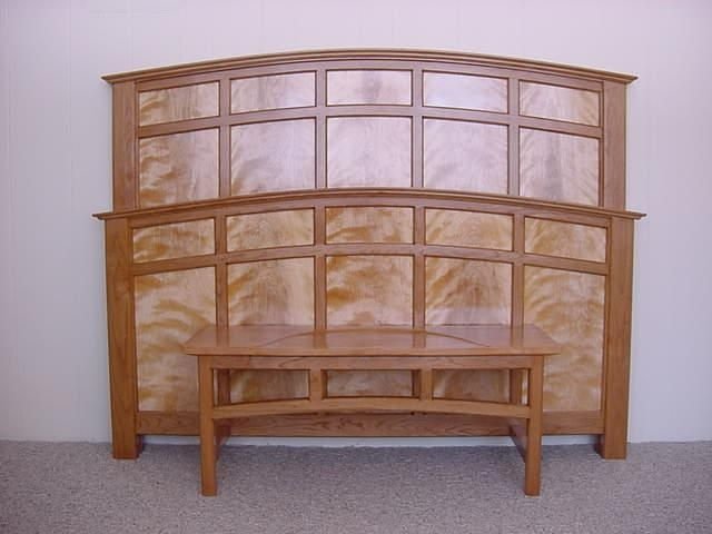 Handmade Cherry And Flame Birch Headboard And Footboard By