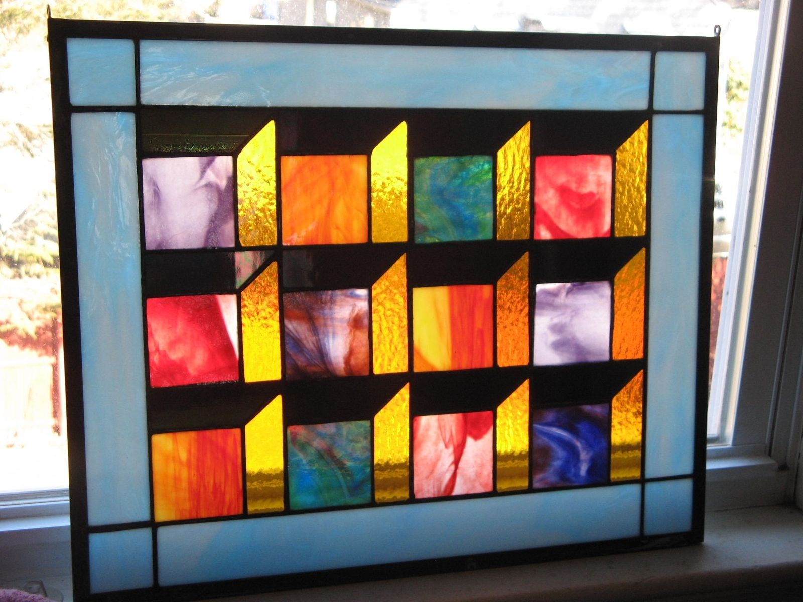 Hand made optical illusion stained glass quilt panel by for Window pane quilt design