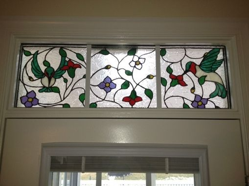 "Custom Made Stained Glass Transom Window - ""The Dance Of The Hummingbirds Ii"" (Tw-37)"