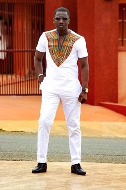 Custom Made Dashiki Short Sleeve Shirt & Pant; Men's African Clothing; Men's Wear
