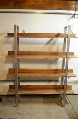 Custom Made Walnut And Stainless Steel Bookshelf