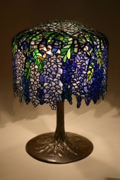 Custom Made Wisteria Lampshade On Tree Trunk Base By Boom