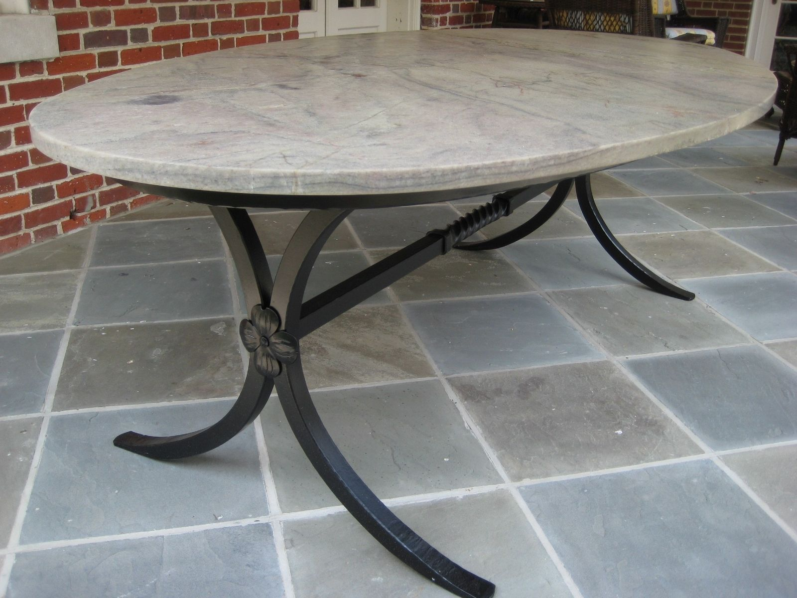 Hand Crafted Hand Forged Table Base With Granite Top By