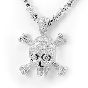 Custom Made Skull Diamond Pendant In 14k White Gold, Skull Pendant, Fashion Pendant, Men's Pendant